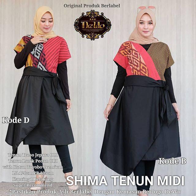 Model Gamis Tenun Troso Kombinasi Gambar Hijab
