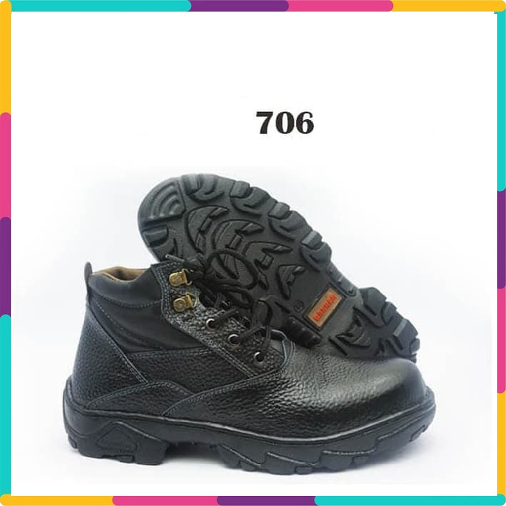 Sepatu Kulit Safety Pria Dengan Besi Pengaman Shopee Indonesia Bsm Soga 275 Formal Boots Kerja Asli Elegan Hitam