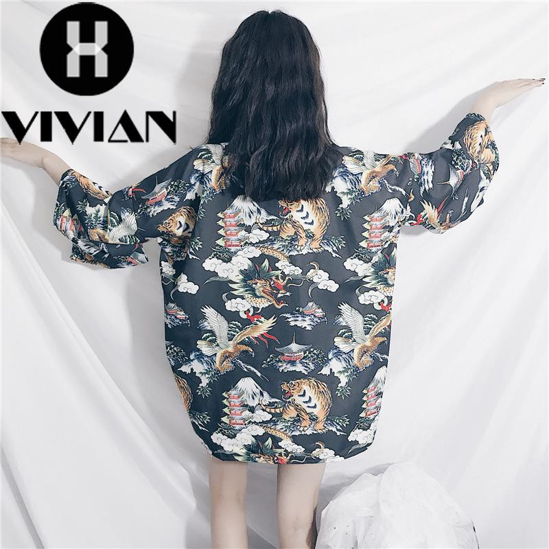 Kimono Pendek Gaya Korea Jepang Motif Print untuk Wanita | Shopee Indonesia