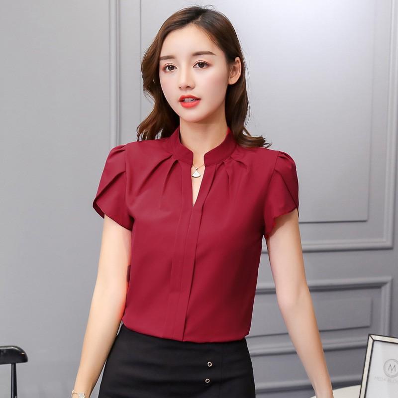 Kaos T-Shirt Wanita dengan Model Potongan Longgar Lengan Pendek dan Warna Merah Bergaya Korea   Shopee Indonesia