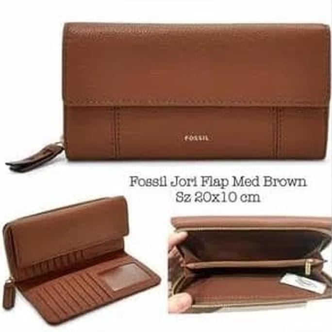 Harga Dompet Fossil Jori Flap Clutch Medium Brown  e88fbd955e