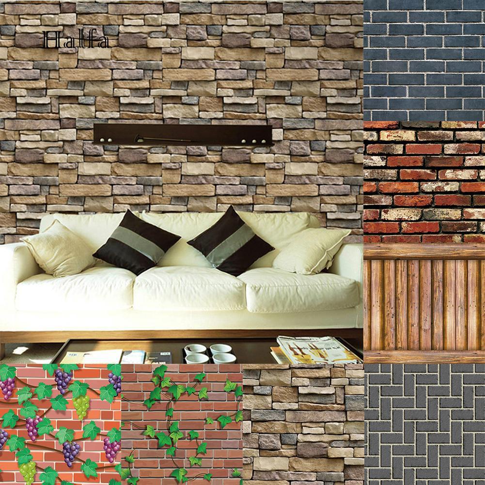 Stiker Dinding Dengan Bahan PVC Dan Gambar Mozaik Batu Bata 3D
