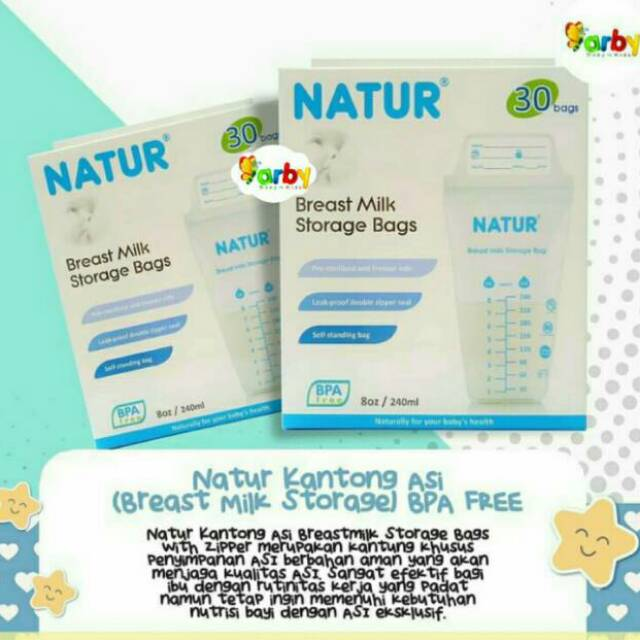 Natur Kantong Asi (Breast Milk Storage) 240 ml BPA Free Isi 30 | Shopee Indonesia
