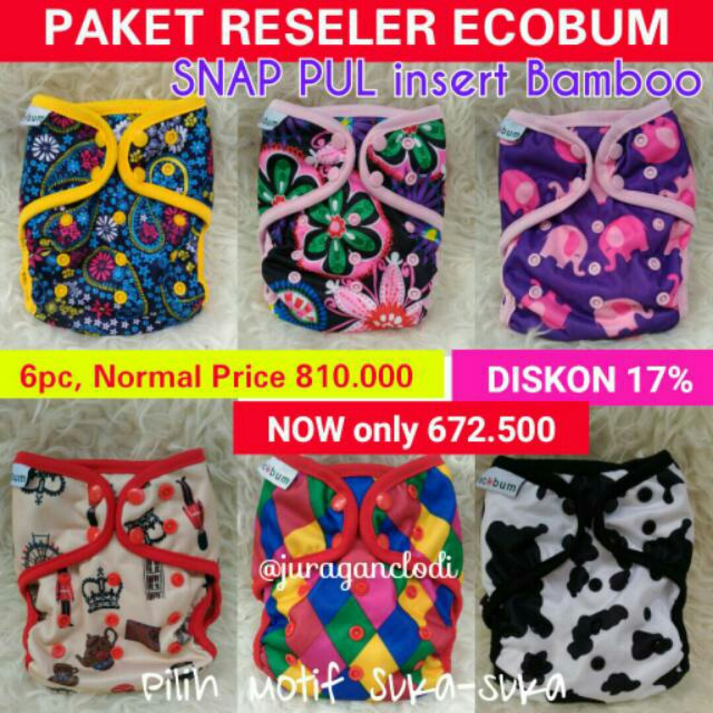 Grosir Clodi Ecobum Snap Pul Shopee Indonesia Super Trainer Cloth Diaper Popok Kain Motif 11