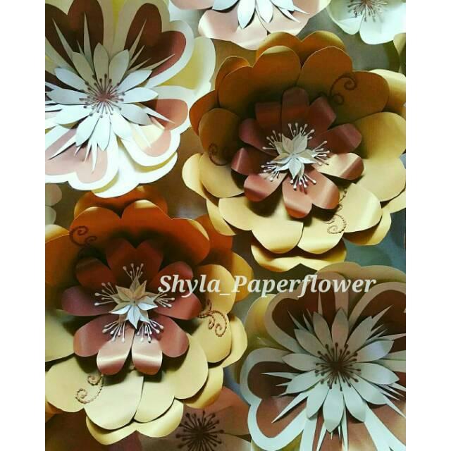 Ready Stok Paper Flower Bunga Kertas Dinding Murah Berkualitas Coklata Kream Emas Gold Shopee Indonesia