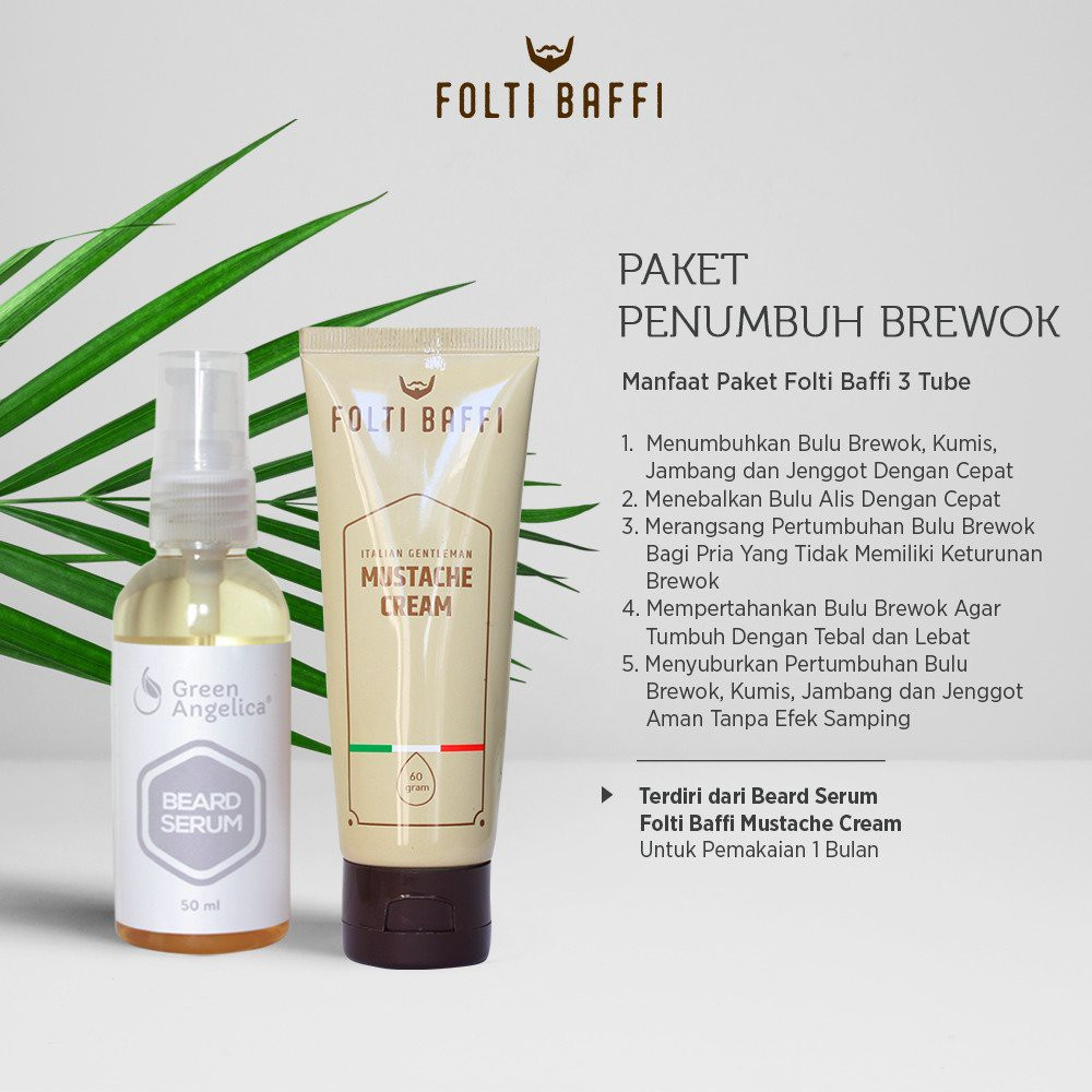 Paket Brewok Green Angelica Folti Baffi Obat Penumbuh Brewok Kumis dan Jenggot Ampuh Cepat Halal | Shopee Indonesia