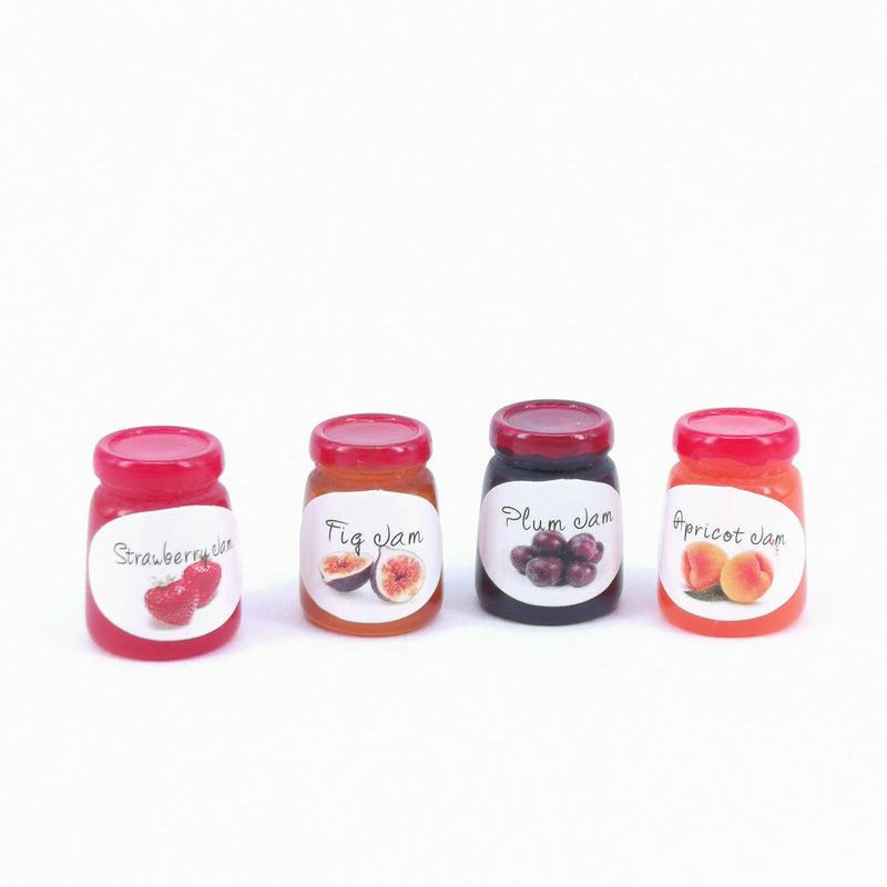 Dollhouse Miniature Glass Jar of Strawberry Jam