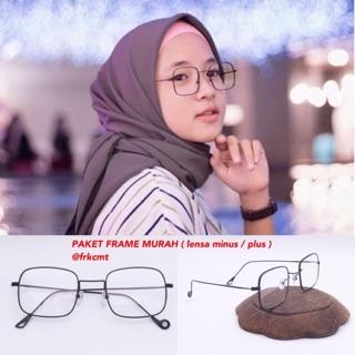 PAKET KACAMATA LENSA MINUS anti radiasi kacamata minus pria wanita nisa  sabyan 306 kotak besi d827cad397