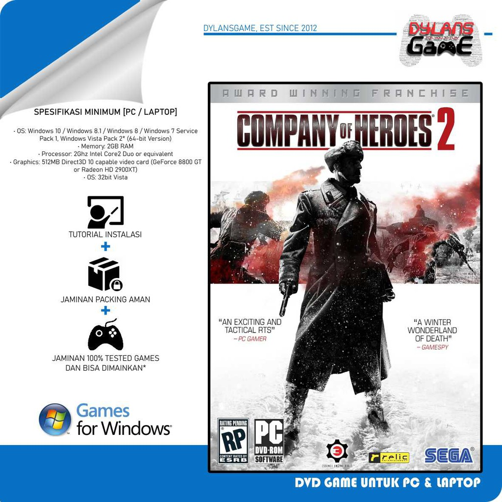 Company Of Heroes Complete Edition Pc Games Dvd Game Laptop Game Pc Shopee Indonesia