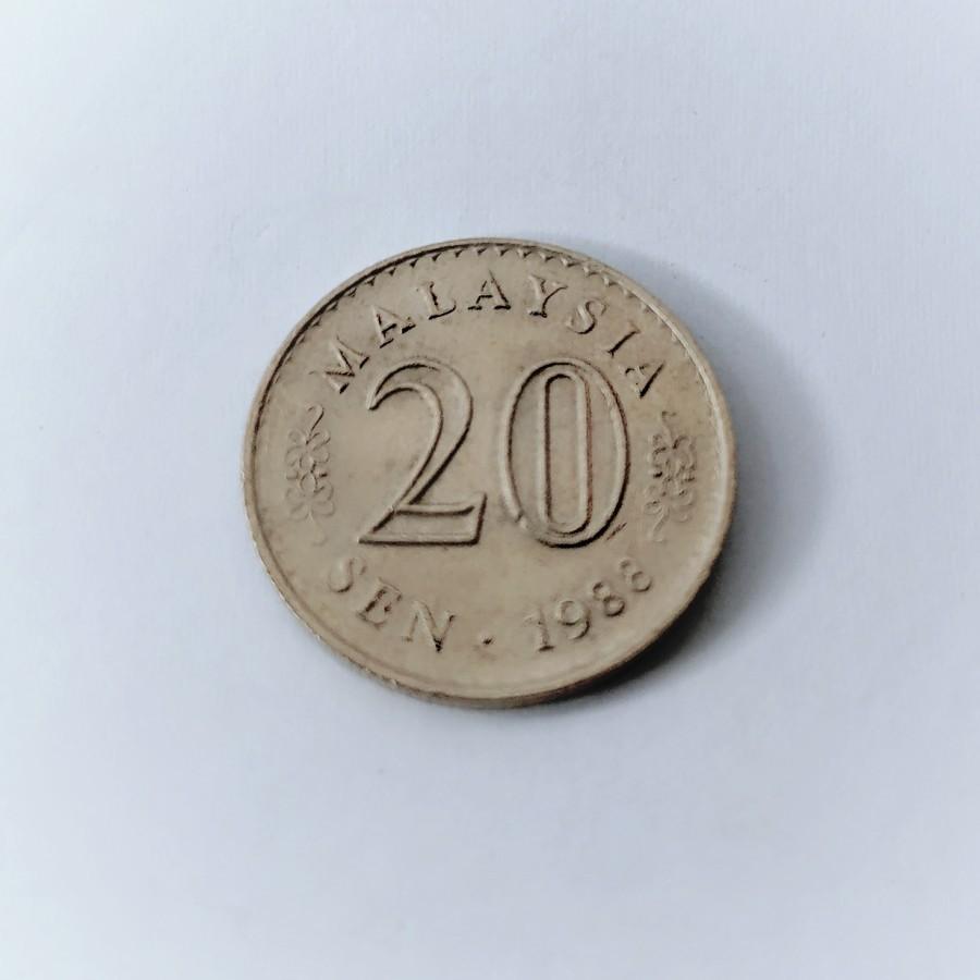Koin 20 Sen 1988 Koin lama Malaysia