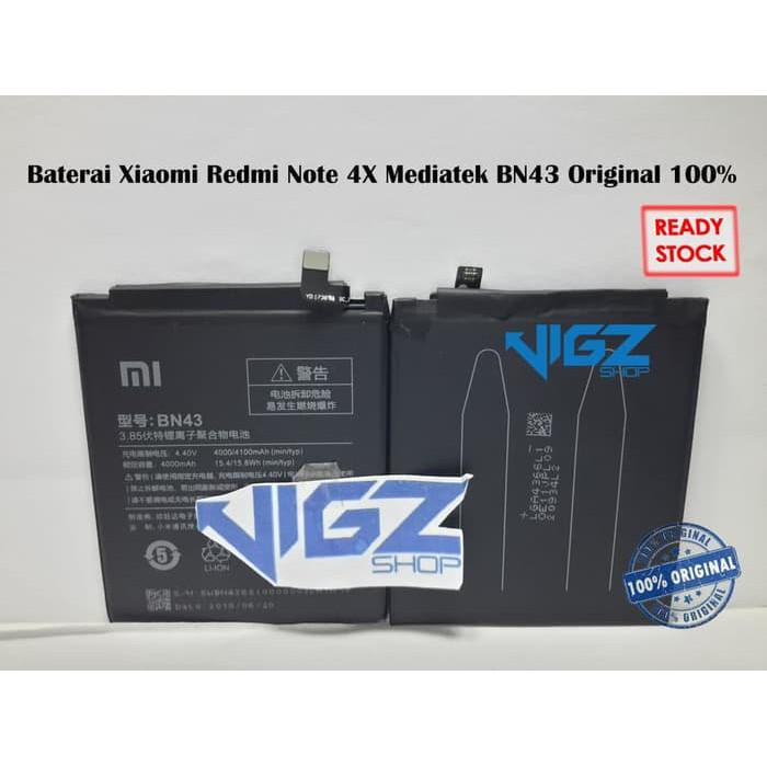 Baterai Xiaomi Redmi Note 4X Mediatek BN43 Original 100% | Shopee Indonesia