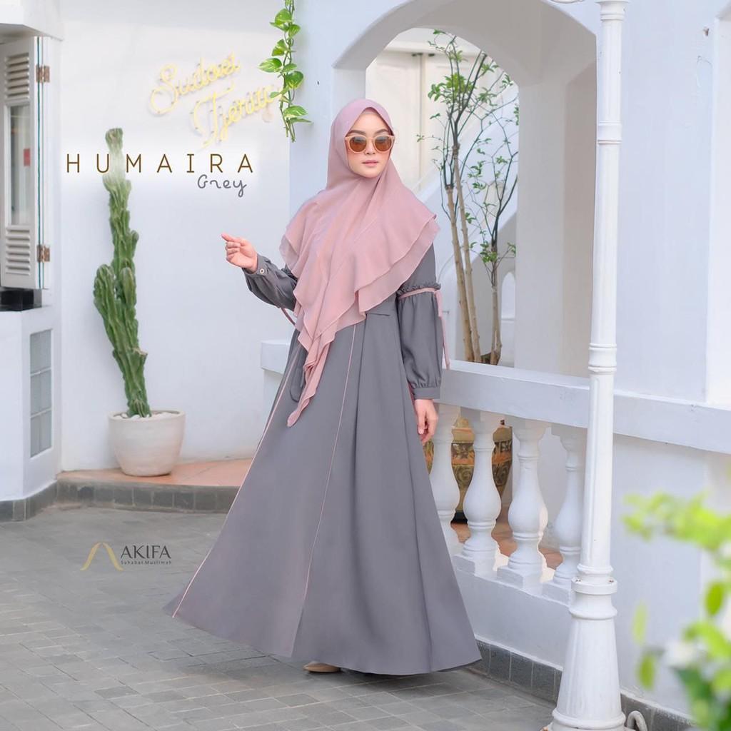 Humaira Dress Gamis Syari Set Khimar Instan Jumbo Ity crepe Premium Ori AKIFA