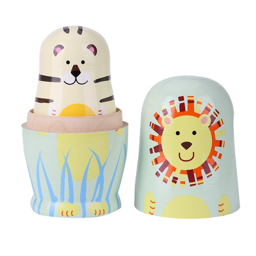 5Pcs Mainan Boneka Matryoshka Rusia Bahan Kayu Motif Kartun Hewan Untuk Anak