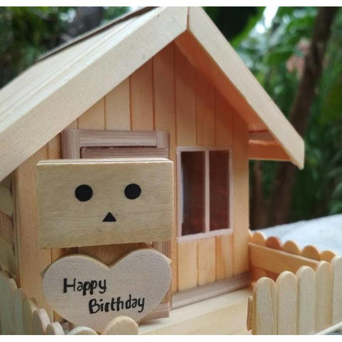 Miniatur Rumah Lampu Tidur Hias Hadiah Kado Ulang tahun / Anniversary / Pernikahan Boneka Danbo Unik