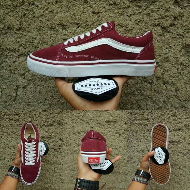 Sepatu Vans Old Skool Maroon Red Merah Marun List Sol Black Hitam -  Original PREMIUM IMPORT  9d0b71bee1