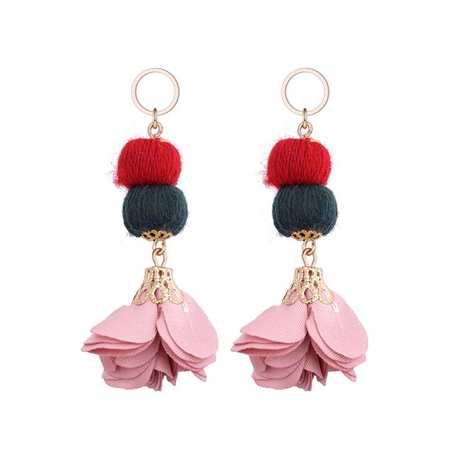 LRC Anting Tusuk Sweet Fuzzy Ball & Pearls Decorated Pom Earrings   Shopee Indonesia