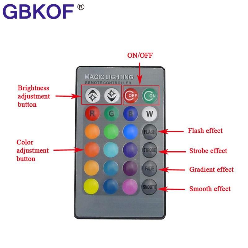 Terlaris 3 W 5 W rgb bulb E27 E14 DIPIMPIN Lampu Panggung Lampu 16 warna dengan 24 Tombol Remote