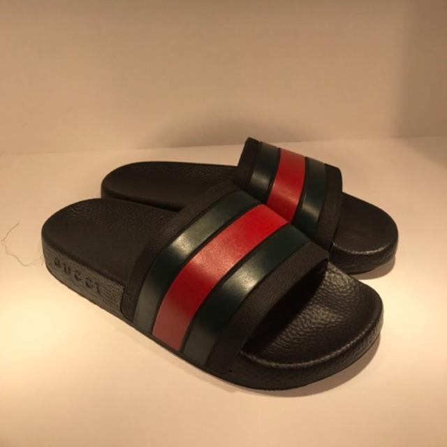 fcab74b1cba BOX LENGKAP Sandal Pria Gucci Thong Leather Web Tiger Putih Hitam Biru  dongker tua MIRROR ORI Impor