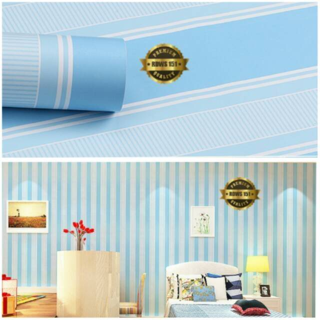 grosir murah -wallpaper sticker dinding biru putih bergaris 10 m x
