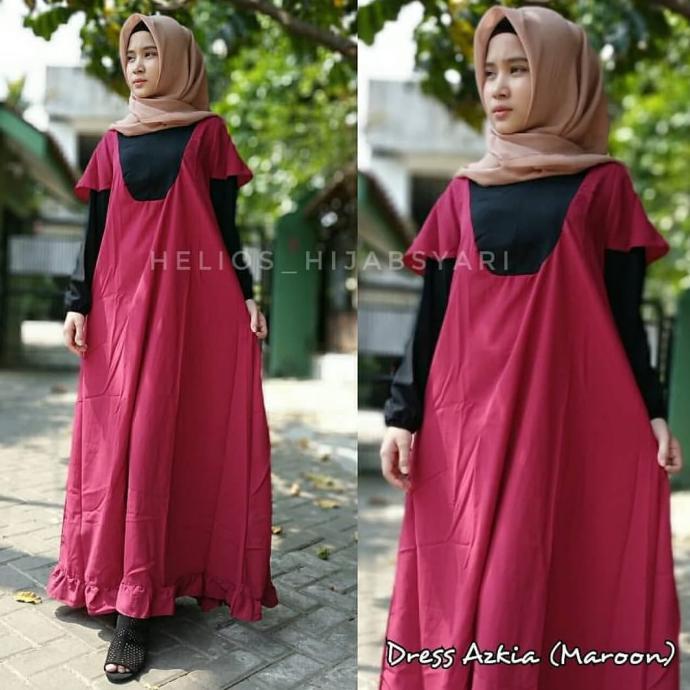 Dress Muslim Azkia Hijab cantik Adem instagram helios hijabsyari - Maroon