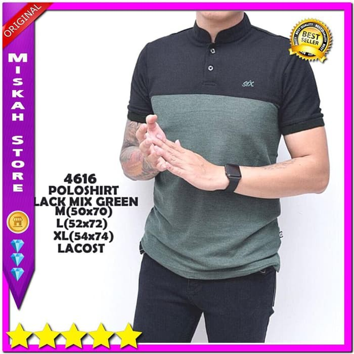 kaos warna Baju Kaos Cowok Kerah Shanghai Six Hitam Hijau Fashion pria  TERLARIS TERLARIS   Shopee Indonesia d49969ae6a