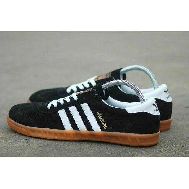 Sepatu Adidas Hamburg Black Strip White Grade Original Bonus