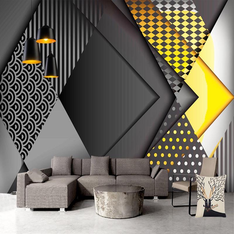 Wallpaper Custom 3d Pola Geometri 3d Untuk Dekorasi Dinding Ruang Tamu Tv Shopee Indonesia