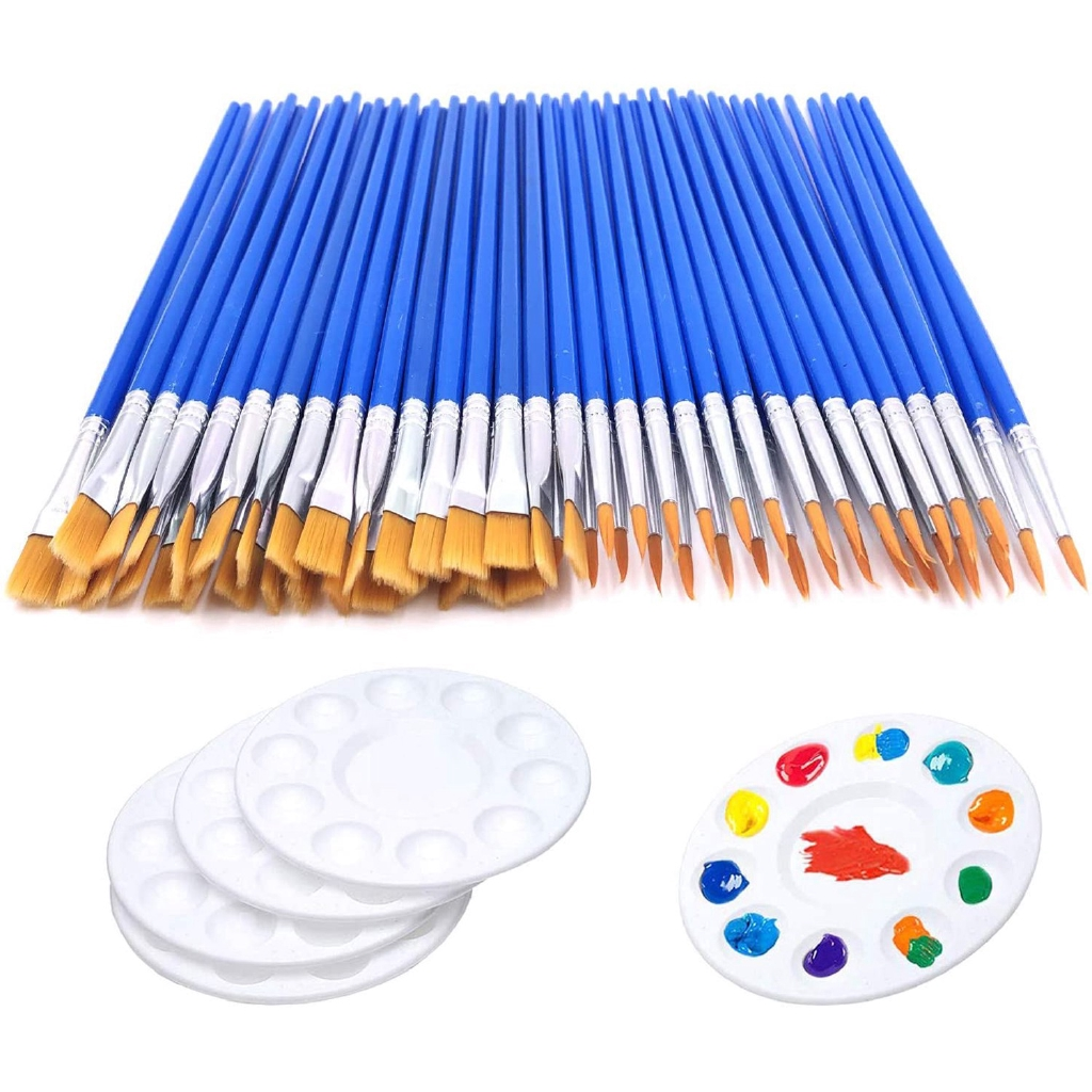 60 Pcs Flat Paint Pallet Brush With 5 Pcs Round Paint Tray Palettes For Kids Art Paint Brushes Nylon Hair Small Brush Shopee Indonesia