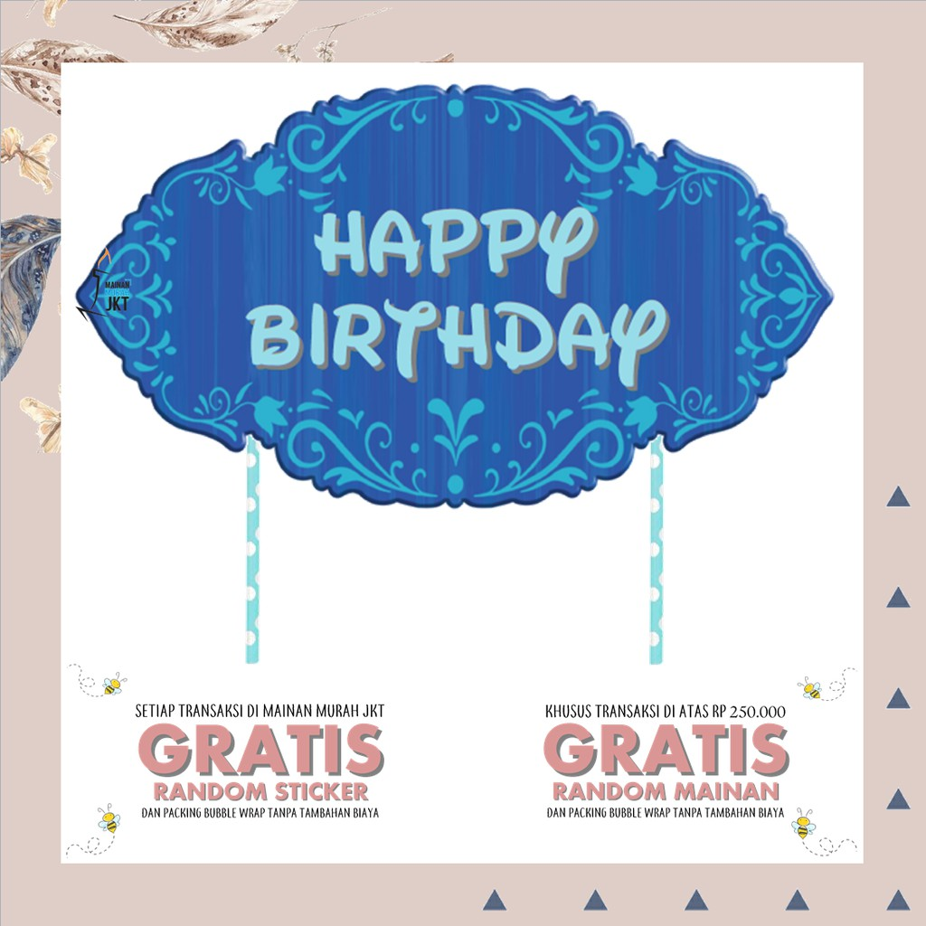 Perlengkapan Pesta Hbd Banner Frozen Cake Topper Hiasan Kue Ulang Tahun Happy Birthday Shopee Indonesia