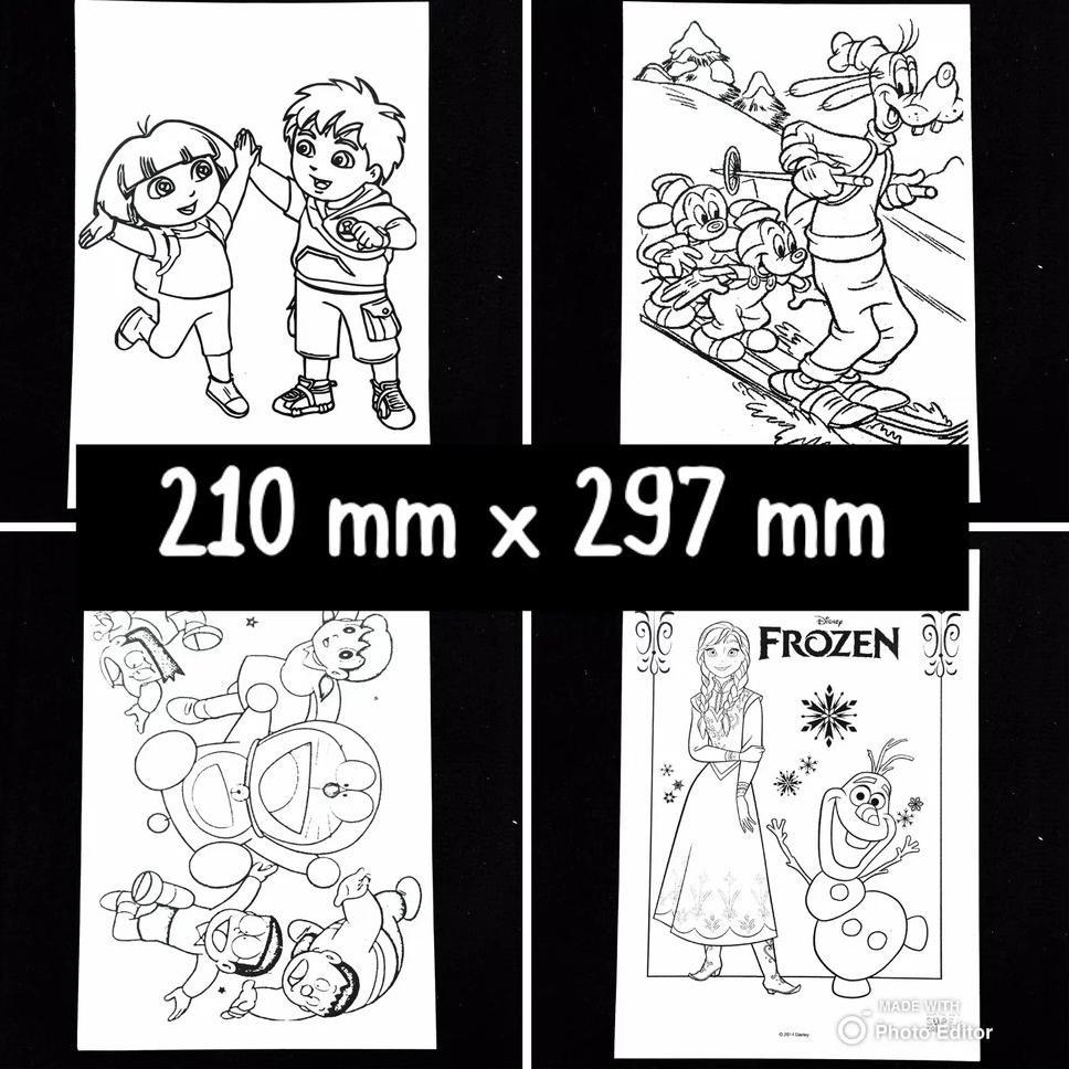 KODE 983 [Uk A4 25 Pcs] Kertas Mewarnai Gambar Karakter Kartun Aktivitas Coloring Book Anak TK PAUD