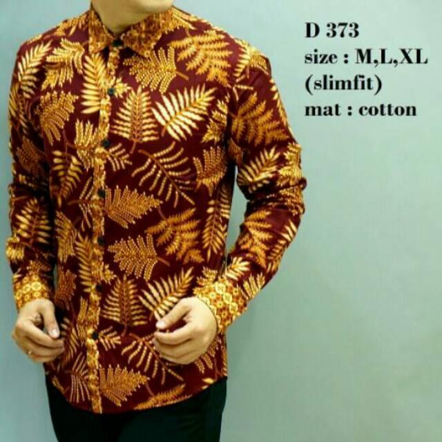 BAJU BATIK PRIA SLIM FIT MODERN LENGAN PANJANG WAYANG SLIMFIT LB72 | Shopee Indonesia