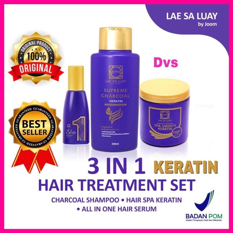 Lae Sa Luay Hair Spa Smooth Keratin Masker Rambut 100% Original / Hairmask / Shampo / Serum-Paket Hemat 3 In 1