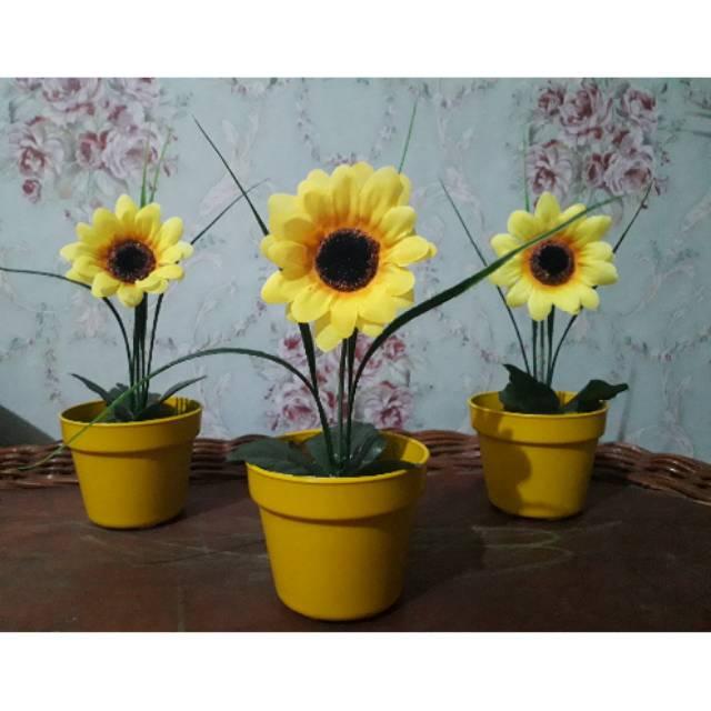 Pot Bunga Matahari Artificial Bunga Matahari Palsu Bunga Matahari Plastik Shopee Indonesia
