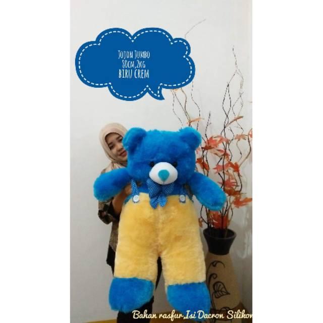 BONEKA BERUANG TEDDY BEAR TELAPAK JUMBO COKLAT CREAM BIRU TUA PINK DOGER FREE ONGKIR SHOPEE UKIR