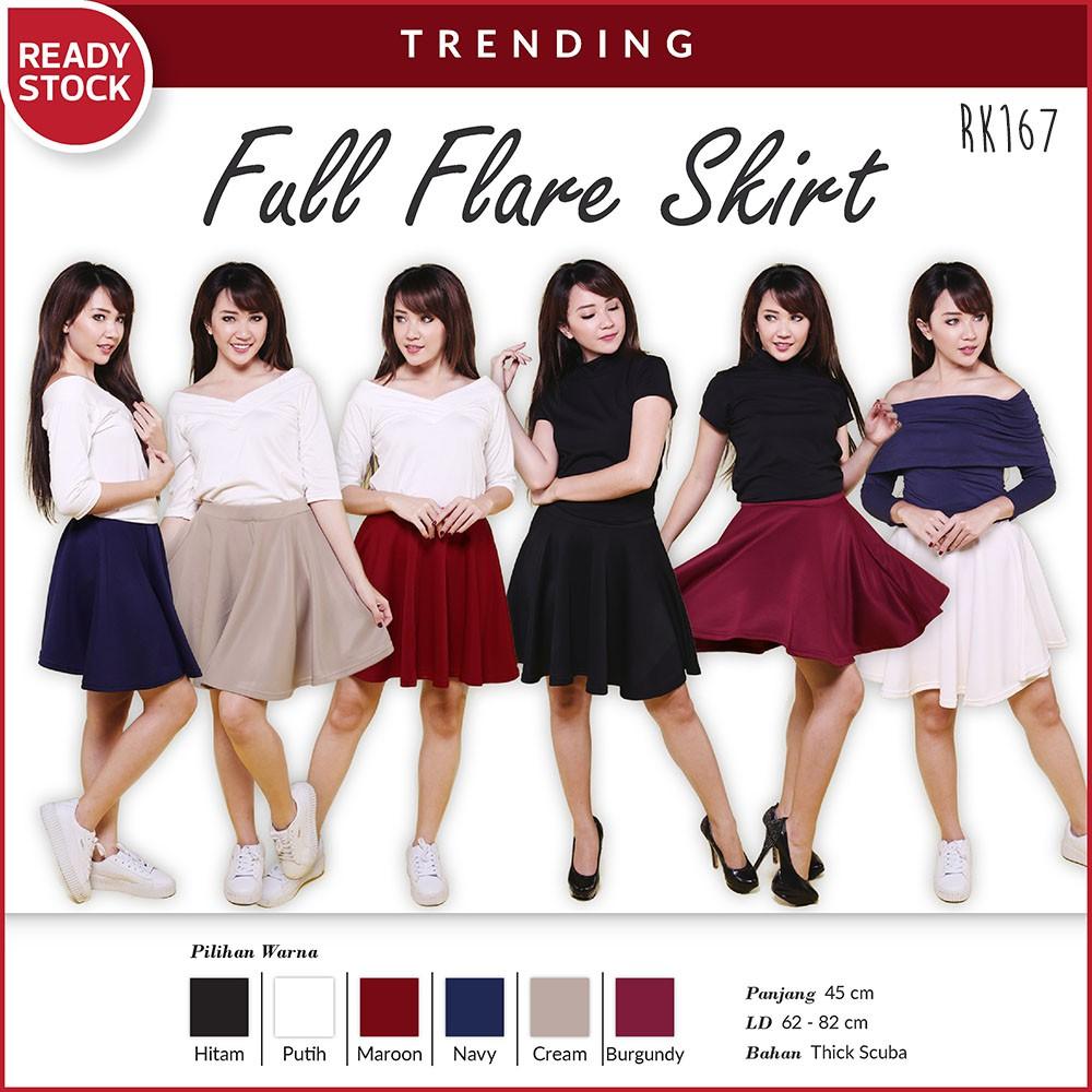 Full Flare Skirt Scuba Rok Bawahan Wanita Premium Quality RK167!