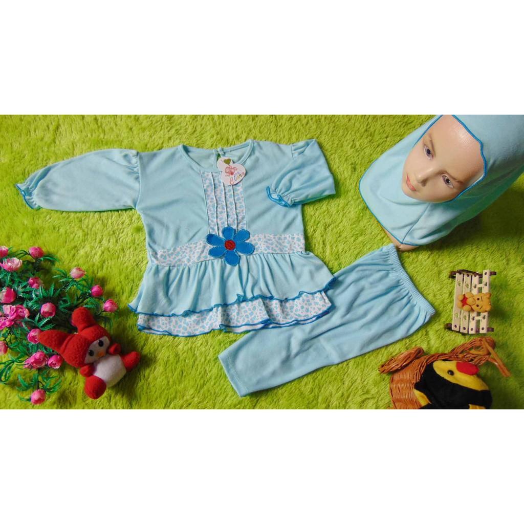 kembarshop PLUS HIJAB setelan baju muslim anak gamis bayi 0-12bulan polka mickey biru   Shopee Indonesia