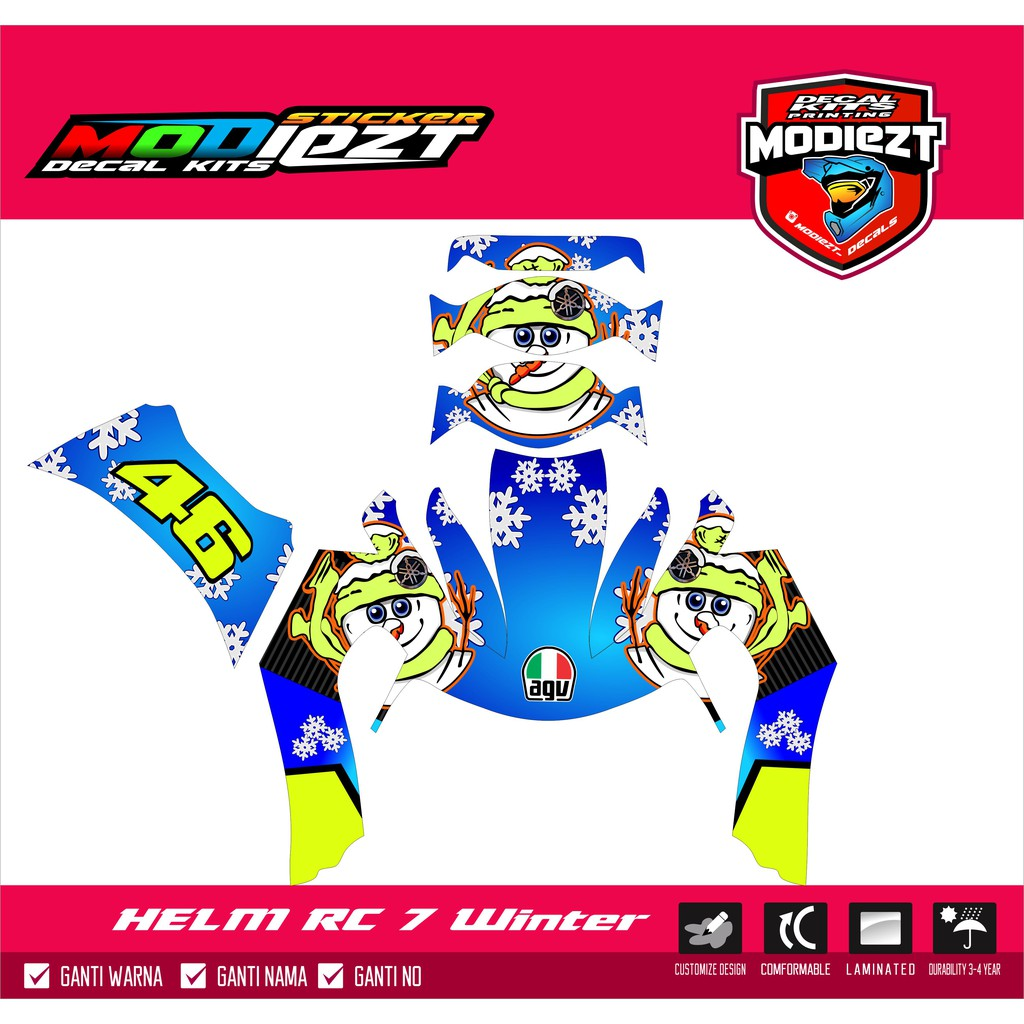 Decal helm kyt rc 7 shopee indonesia