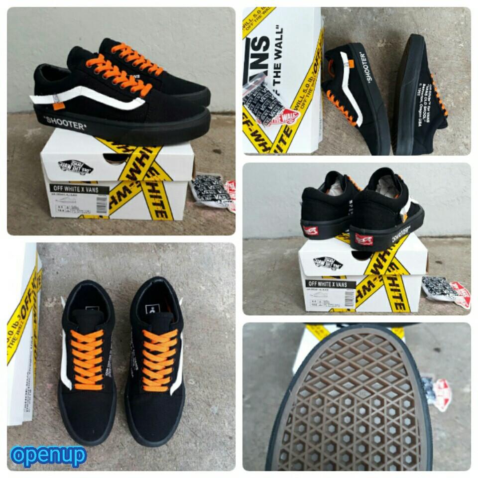 100% PREMIUM Sepatu Vans Old Skool Oldskool OFF WHITE X VANS AIR JORDAN  SHOOTER Black Like Original  f8e91df518