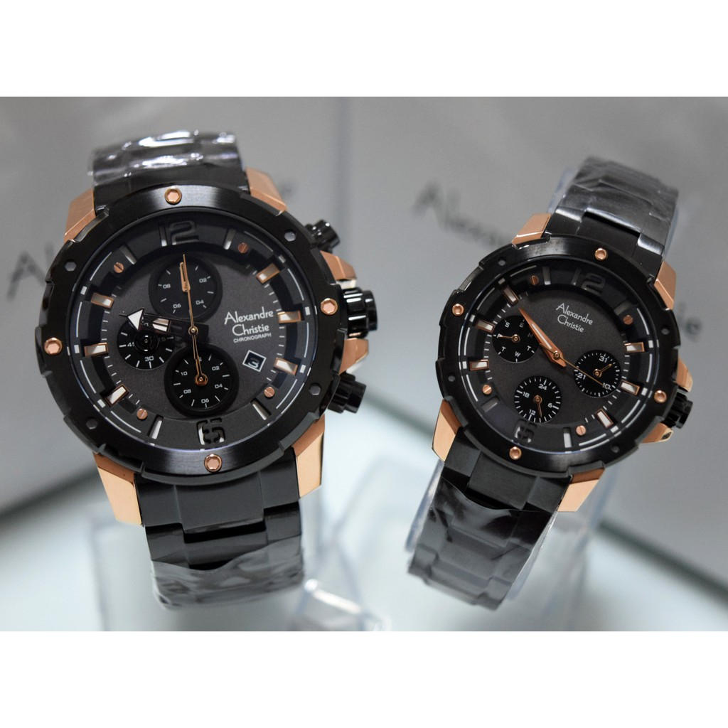 Alexandre Christie Ac 6410 Couple Rose Gold Black Rantai Original 8333 Shopee Indonesia