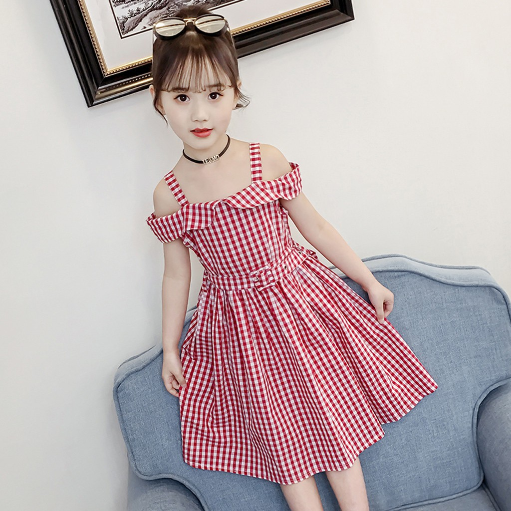 [Babyking] Kids Teen Children Girl Off Shoulder Strap Plaid Print Dress  Belt Casual Dresses