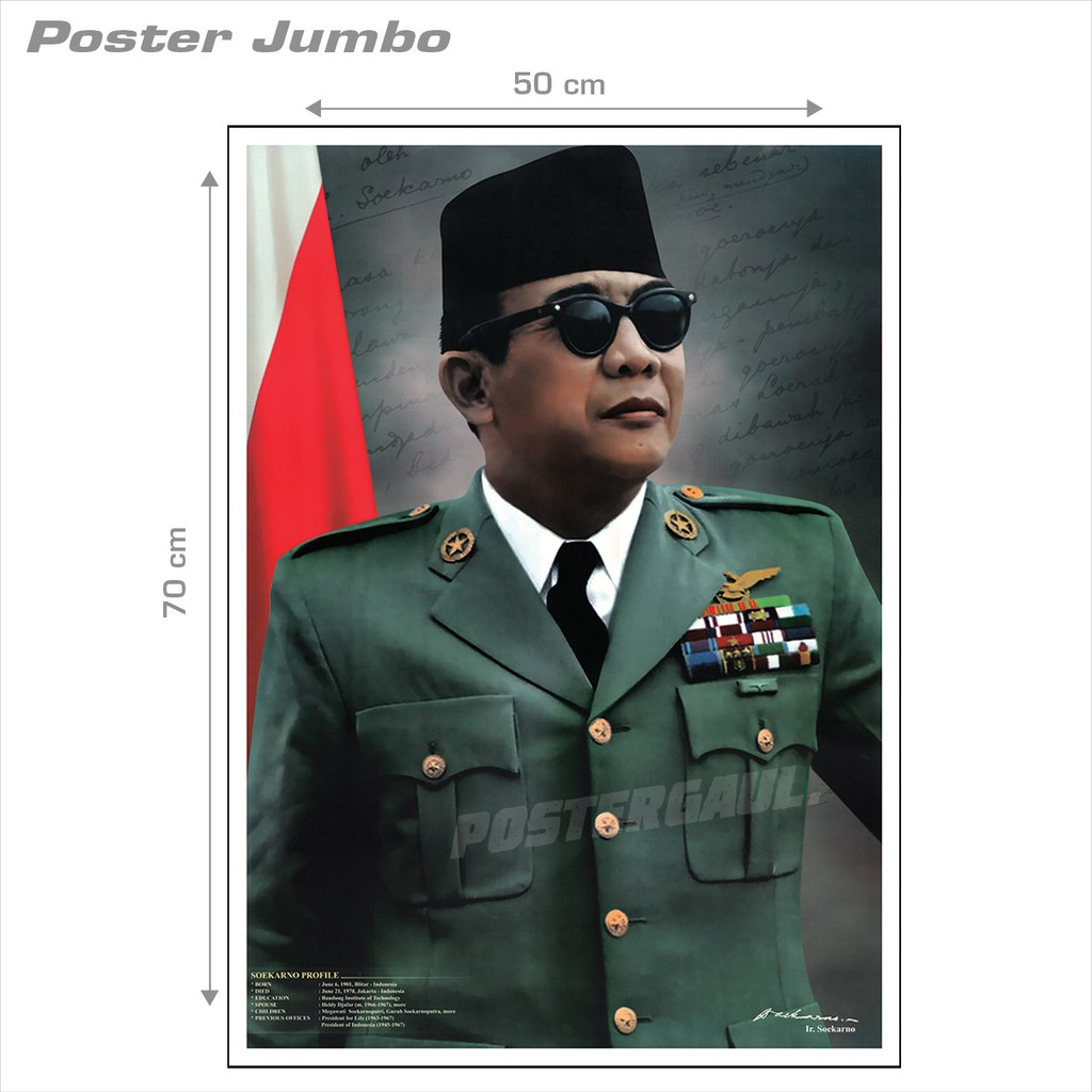 [COD] Poster Jumbo PRESIDEN SOEKARNO #SKN38 - 50 x 70 cm | Shopee Indonesia