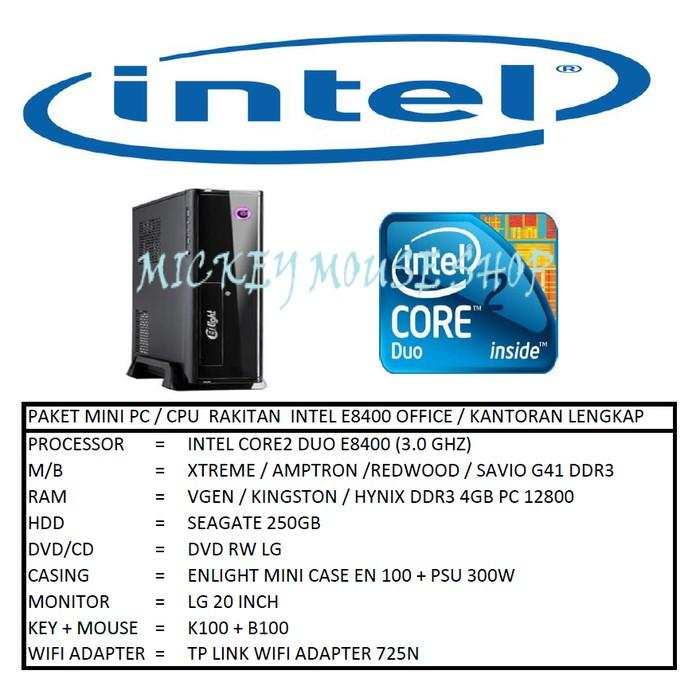 PC PAKET MINI PC / CPU RAKITAN INTEL E8400 OFFICE / KANTORAN LENGKAP