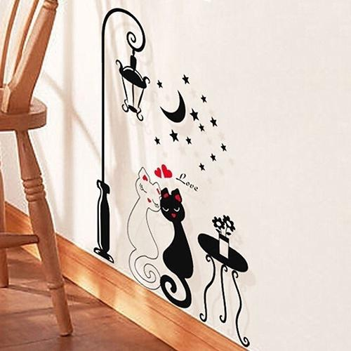 Couple Cats Removeable Wall Stickers Mural Art Vinyl Sticker Wallpaper