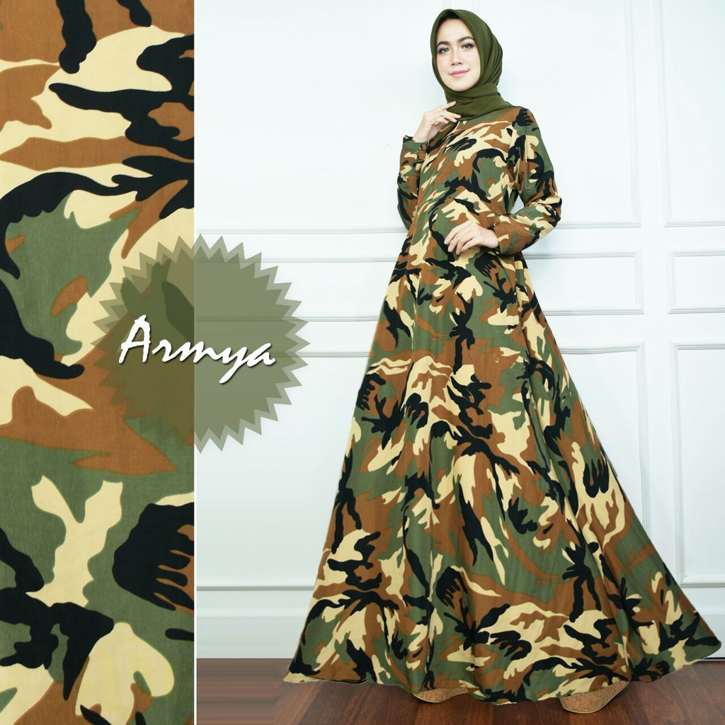 HIJAU ARMY Dress Baru Gamis Monalisa Tentara Limited Baju Busana Muslimah