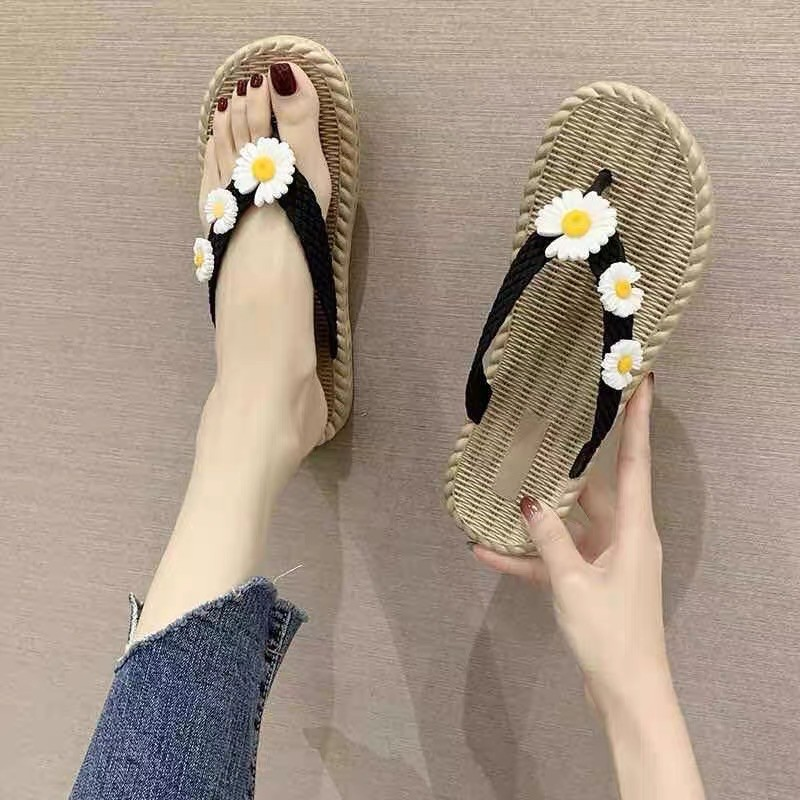 Sendal Jepit Wanita Korea Slip On Dengan Aksen Bunga Daisy Sendal Jepit Karet Anti Slip Terbaru 2021 Shopee Indonesia
