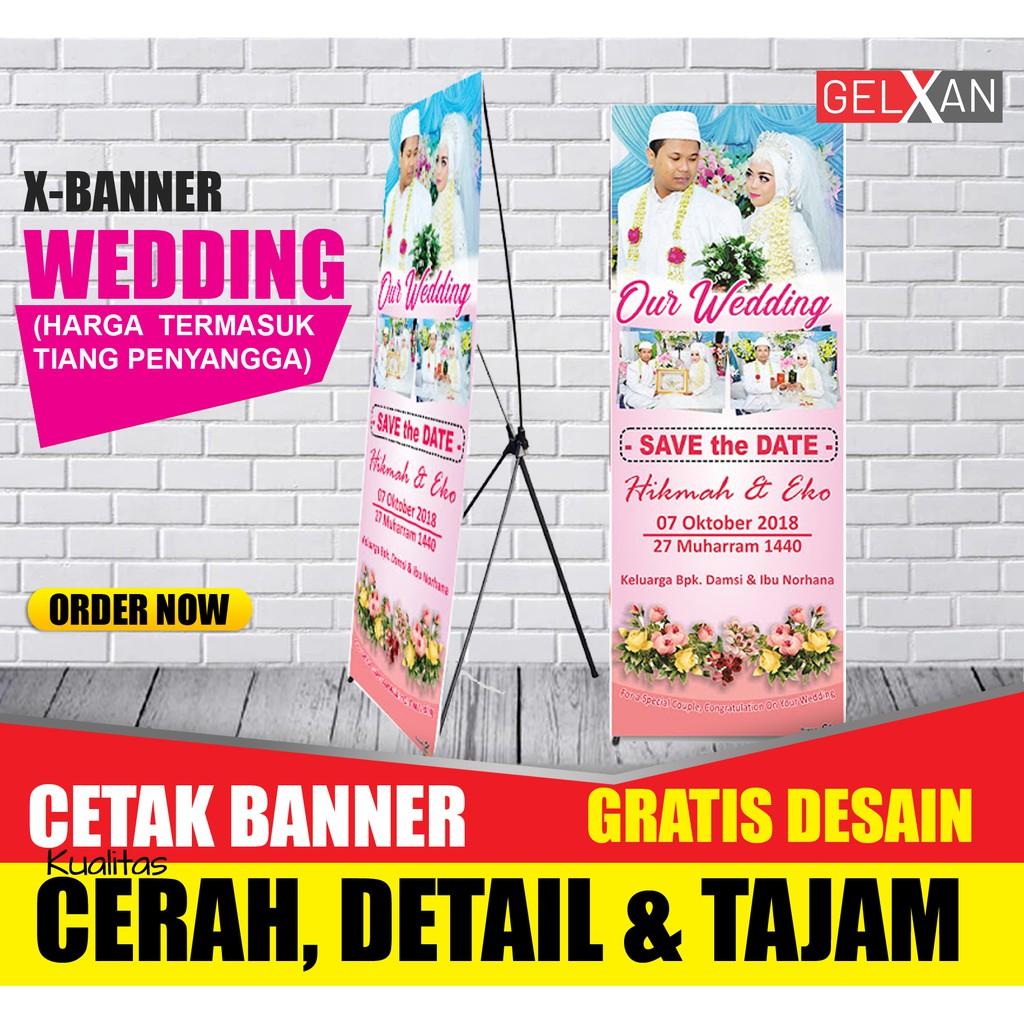Cetak X Banner Desain Gratis Standing Untuk Wedding Pernikahan Shopee Indonesia