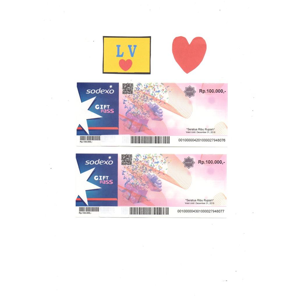 Voucher Belanja Sodexo Gift Pass Rp 100000 Murah Shopee Indonesia