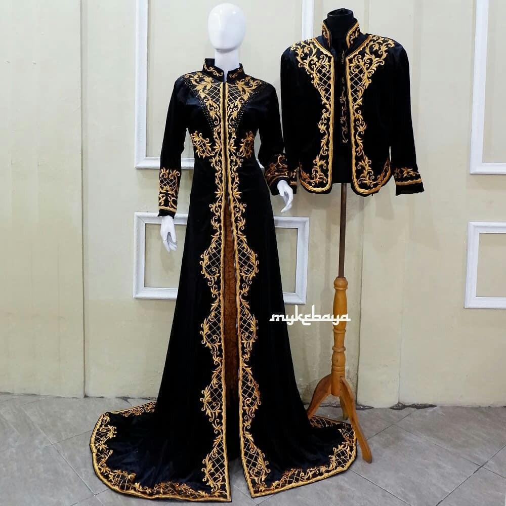 Baju Gaun Kebaya Pengantin Bludru Hitam