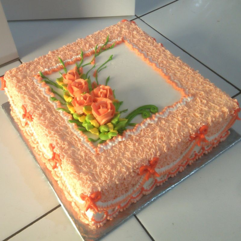 Kue Ulang Tahun Dewasa Ultah Motif Bunga Shopee Indonesia