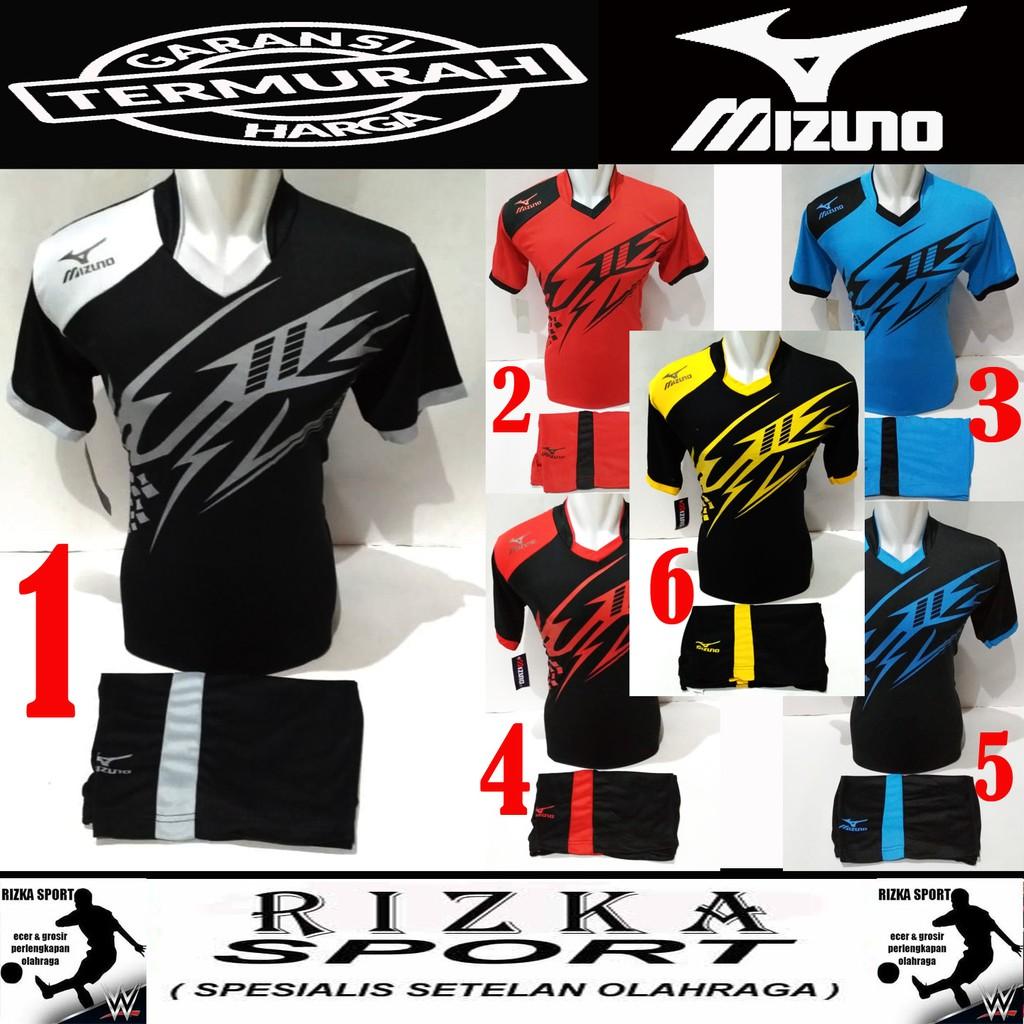 a9c3fbd277 Setelan Jersey Mizuno  Seragam Voli  Kost Futsal  Baju Bola  Kaos Olahraga   Badminton  Tenis  Gym